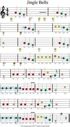 jingle bells easy color coded violin sheet music