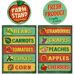 Farm Stand and Produce Decals Set