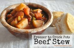 Crock Pot Freezer Meals: Hearty Beef Stew (So easy because you prep them ahead of time, pull out of the freezer, and dump in a crock pot.  Come home to a delicious smelling meal!)