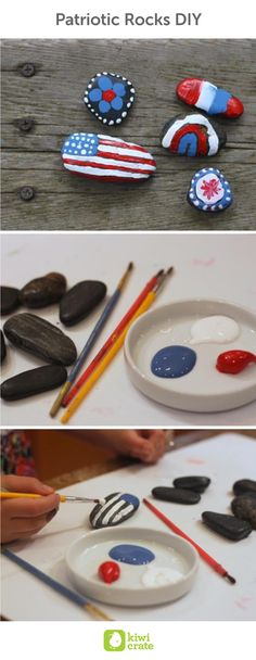Patriotic Rocks DIY. We love with these festive rocks the kids and we worked on to decorate for Memorial Day and July 4th. Activities. Crafts.  For Kids. Ideas. Memorial Day. Decorations. Party. Blue. BBQ.