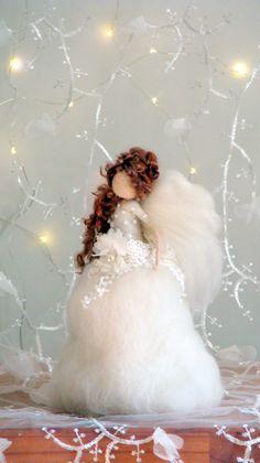 Christmas Angel Christmas topper Christmas fairy Waldorf inspired Angel Needle felted Tree topper Angel  Art doll