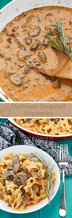 Vegetarian Mushroom Stroganoff | http://thecookiewriter.com | @thecookiewriter | A vegetarian recipe that can easily be made vegan, this mushroom stroganoff is creamy, easy, and uses greek yogurt! It would probably make a great crock pot or slow cooker recipe as well since it is basically a one pot recipe!