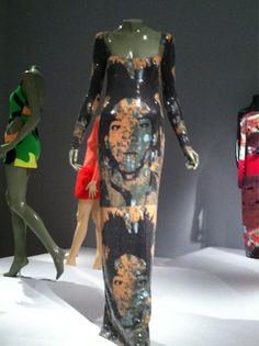 Stephen Sprouse dress w/ images of Basquiat painted by Warhol, @IMAMuseum