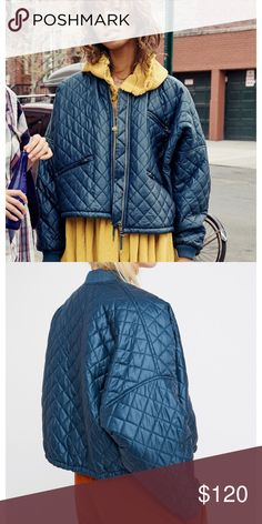"""Free People Bomber Jacket Size Medium NWT Free People Easy Style Bomber Jacket in color Jewel Size Medium NWT  Style: 42402966 Color Code: 099 TurquioseNylon bomber featuring a diamond quilted design with exposed outer pocket details and a drawstring band for added shape.   DETAILS & CARE * 23"""" length (size Medium)     * Front zipper closure      * Ribbed collar and cuffs     * Round collar     * Long sleeves     * Front zip pockets     * Drawstring hem     * 100% Nylon     * Machine Wash…"""