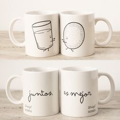 """Image of Set de 2 tazas """"Juntos, es mejor"""""""