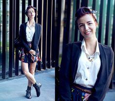 Blazer, Pull & Bear Skirt, Ebay Boots, Backpack