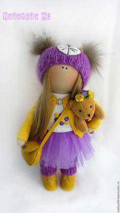 Купить Текстильная интерьерная кукла КОШЕЧКА - фиолетовый, кукла ручной работы, подарок на любой случай