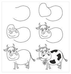 Cow cartoon drawing a cartoon cow step by step drawing tutorial on Cow Cartoon Drawing, Cartoon Cow, Cartoon Drawings Of Animals, Cartoon Drawing Tutorial, Art Drawings For Kids, Drawing For Kids, Easy Drawings, Cow Drawing Easy, Drawing Ideas