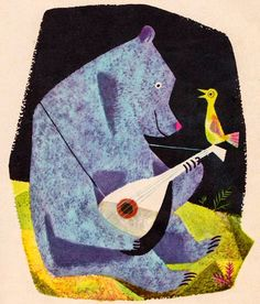 J.P.Miller bear lute bird illustration