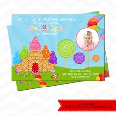 Candyland Invitation by dpdesigns2012 on Etsy