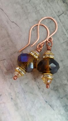 Copper earrings with crystals