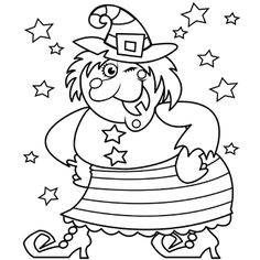 Happy Witch - Free-N-Fun Halloween, Halloween Coloring Page, FREE Coloring Page Template Printing Printable Halloween Coloring Pages for Kids, Halloween Halloween Pumpkin Coloring Pages, Witch Coloring Pages, Free Halloween Coloring Pages, Free Printable Coloring Pages, Coloring Pages For Kids, Coloring Books, Free Coloring, Halloween Cards, Halloween Pumpkins