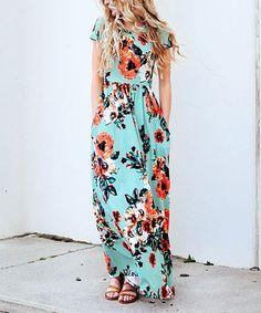 Beautiful teal floral maxi dress.