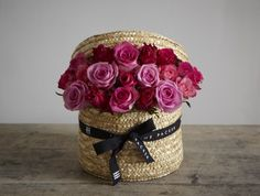 """Jane Packer """"Sweet Rose"""" Bouquet - gorgeous hatbox filled to the brim with hot pink roses. Beautiful Flower Arrangements, Floral Arrangements, Friendship Flowers, Flower Box Gift, Hot Pink Roses, Luxury Flowers, Flowers Delivered, Flower Quotes, Flower Crafts"""