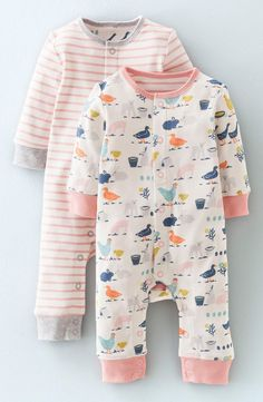 adoring this set of rompers with a charming barnyard print and stripes...