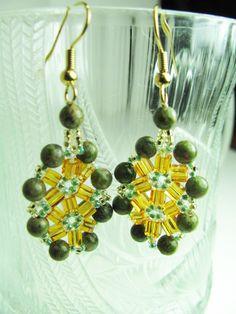 Beadwork Unakite Earrings Gold Floral by BohemianIce #beadwork #jewelry #etsy