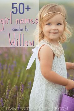 This list of beautiful boho girl names that are similar to Willow will help you find the perfect earthy, hippie name for your baby girl! #names #girlnames #babynames #willow #baby Unique Girl Middle Names, White Girl Names, Elegant Girl Names, Best Girl Names, List Of Girls Names, Pretty Girls Names, Beautiful Girl Names, Old Girl Names, Little Girl Names