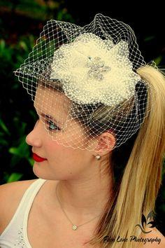 Ivory Birdcage Veil Bridal HeadpieceWedding by TheHoneyDewShop, $65.00