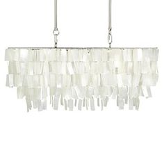 Large Rectangle Hanging Capiz Chandelier - White #westelm