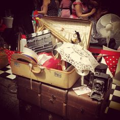 A 'Mixed Prop Package' in all its bespoke glory ready for the Merchant City Vintage Festival 2014!   Stacked on our beautiful trunks ofcourse!