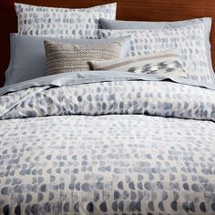Organic Half Moon Duvet Cover + Pillowcases - Shimmer Blue