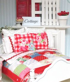 Cottage Red Miniature Patchwork Quilt Rick Rack by RibbonwoodCottage on Etsy, $77.50