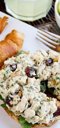Sweetly Savory Tarragon Chicken Salad on a Toasted Croissant