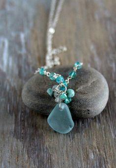 Genuine Sea Glass Jewelry Sea Glass Pendant Aqua