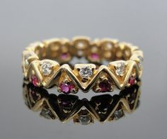 Unusual Modernist Ruby and Diamond Band for Wedding or Stacking RGRU205D on Etsy, $1,085.00