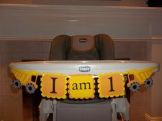 Construction, dump trucks, birthday banner, I am 1 - first birthday, high chair banner on Etsy, $14.00