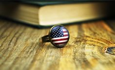 National USA flag ring adjustable ring statement by Bernsteinufer