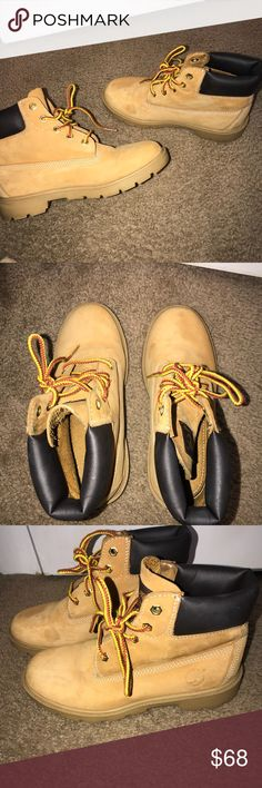 timbs!! Very good condition. Few light marks. Not that noticeable at all. I️ wear a size 6 in Woman's and these are a 4 in men's Timberland Shoes Winter & Rain Boots