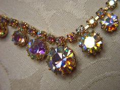 Vintage Champagne Pink Aurora Borealis Rhinestone Necklace