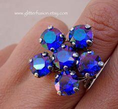 Majestic Blue Purple Haze Swarovski Crystal Flower Ring, Iridescent Dark Blue Crystal Floral Ring, Unique Boho Chic Glitter Fusion Jewelry