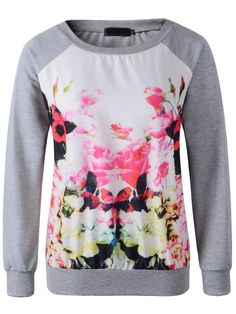 Grey Round Neck Long Sleeve Floral Sweatshirt -SheIn(Sheinside)