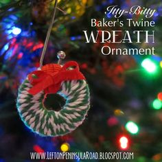 Make this adorable little baker's twine wreath ornament for your Christmas tree! An easy and inexpensive holiday project.