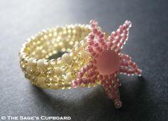 Peach Starfish Ring. Pink Sea Star with Tan Beige Beadwork Band | SagesCupboard - Jewelry on ArtFire