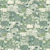 What's that Lying with the Sheep? fabric by ceanirminger for sale on Spoonflower - custom fabric, wallpaper and wall decals