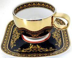 Šálek na kávu * modrý porcelán z 24 kr, zlatým okrajem a zlatem malovaným květinovým motivem * Versace.