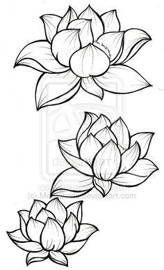 Lotus flower tattoo line work