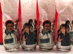 Set of 4 Vintage Star Wars Empire Strikes Back Luke Skywalker and Lando Calrissian Burger King Collectors Glass Cup - Rare Century Textiles, Lando Calrissian, Empire Strikes, Luke Skywalker, S Star, Textile Art, 1980s, The Outsiders, Nostalgia