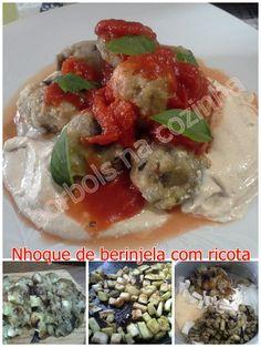 Nhoque de berinjela defumada com ricota, tahine e tomate pelado