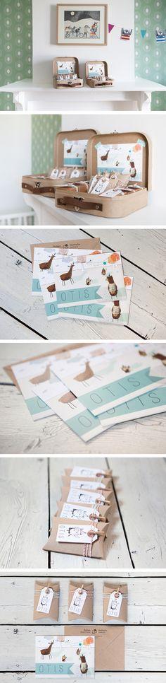 Geboortekaartje en doopsuikers voor Otis. Kaartje ontworpen door Eveline Ester…