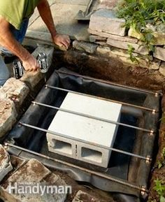 Pin now and read later. Backyard Waterfall - Step by Step: The Family Handyman (Diy Garden Waterfall) Backyard Water Feature, Ponds Backyard, Backyard Landscaping, Backyard Waterfalls, Garden Ponds, Koi Ponds, Water Falls Backyard, Backyard Patio, Diy Water Feature