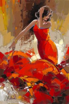 """Foreign Girl"" Oil painting on canvas by artist Anatoly Metlan. - Park West Gallery"