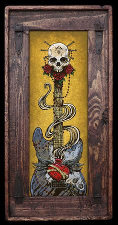 Day of the Dead Art by David Lozeau, Day of the Dead Strat, Dia de los Muertos Art - 4