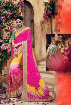 Pink and green designer party wear saree - Desi Royale