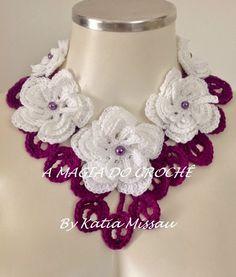 A MAGIA DO CROCHÊ: Colar com Flores de Crochê - Colar Belle Bouquet