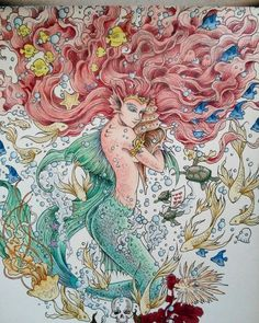 """""""My sweet mermaid"""" #kerbyrosanes #mythomorphia #imagimorphia #animorphia #coloringbooksforadults #målarböckerförvuxna #mermaid"""