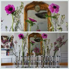 1000 lieux, anémones, vase d'avril, tsé tsé, wax flowers Vase Arrangements, Blog Deco, Avril, Art Floral, Decoration, Fixer Upper, Glass Vase, Tube, Fans